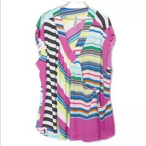 NEW Melissa McCarthy Seven7 3X Striped Wrap Top
